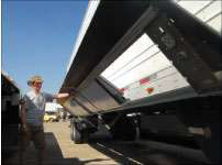 Greg Decker can flip up the panels of the Windyne Flex Fairings to access the underside of his trailer.