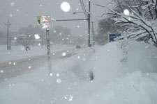 Snowstorm on Highway 3 in Pennsylvania. (Photo John Baxter)