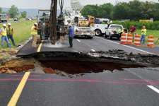 Truck averts I-24 sinkhole