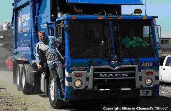Mack TerraPro refuse truck 'Sliced' on History Channel