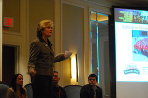 Women in Trucking's Ellen Voie speaking in 2010 at a Truckload Carriers Association conference.