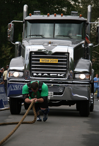 Human-powered Mack tractor pull