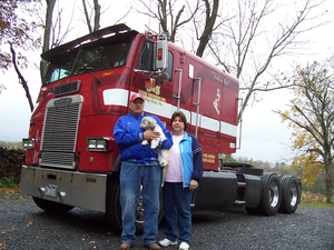 Steve and Doris Bixler and their 1989 Freightliner COE