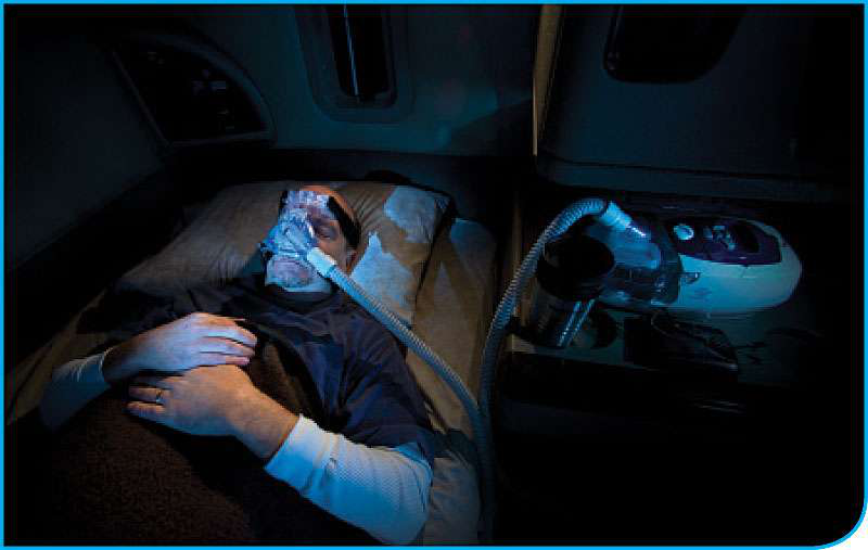A trucker being treated for obstructive sleep apnea with a CPAP machine.