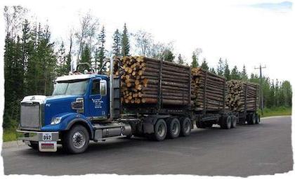 Heavy log hauler gets 'er done