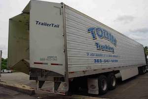 This Tobin Trucking van trailer is compliant with California's GHG rule requiring skirts or other belly fairings.