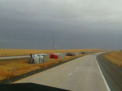 Wind gusts topple trucks in South Dakota