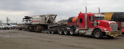 Nick at Michigan-based Assured Carriers sent in this shot of a heavy-haul Crane loaded from Detroit to Williston, N.D., no doubt destined for oil/gas operations in the area.