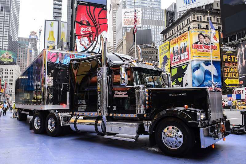 "Demarest's truck  hauled equipment for the ""Broadway on Broadway"" production at Times Square in New York City. The '07 Great Dane has been modified to fit the Lincoln Tunnel."