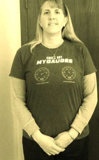 Jackie Wormley's MyGauges t-shirt