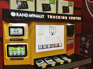 The Rand McNally display in the TA Petro booth at the Mid-America Trucking Show in 2013 shows the TND 760 EOBR/communications module for sale.