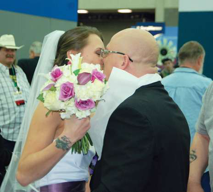 Shannon Mann and Kevin Young got married at the Mid-America Trucking Show at the Pana Pacific booth.