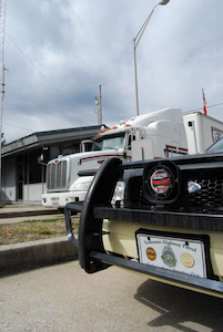Tennessee Highway Patrol car and truck at weigh station