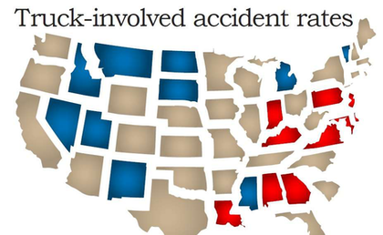Truck-involved accident rates map