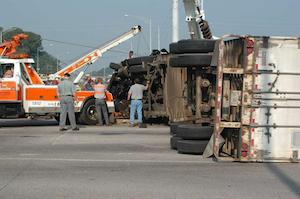 Roll-over crash scene