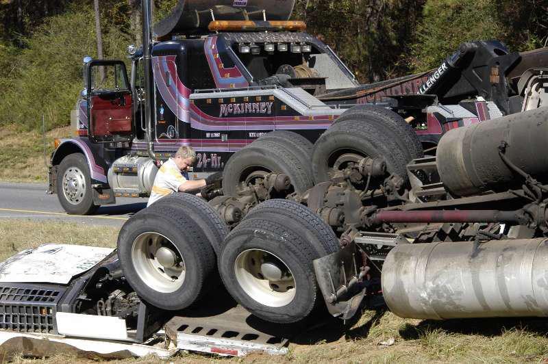 Tow-away rollover crash