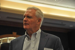 Pilot Flying J CEO Jimmy Haslam talks with fleet representatives in Indianapolis at the Scopelitis Transportation Seminar May 16.