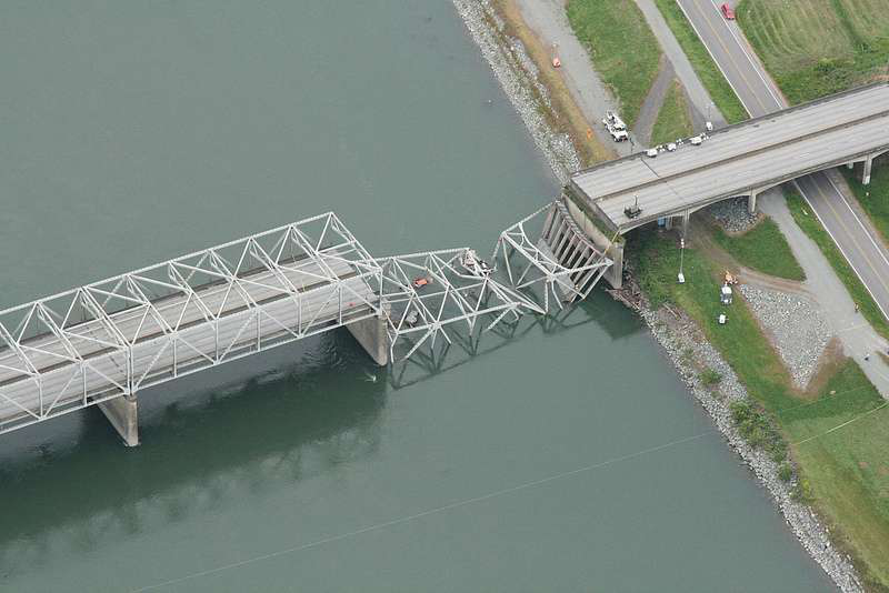 The collapsed section of I-5 in Washington over the Skagit River. The bridge has since been repaired.