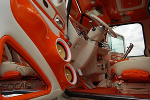 With custom Alpine head unit and other Focal equipment installed by Flynn Brothers Customz in Wis., among other mods, the interior of Bill Rethwisch's 2012 Peterbilt 389 presented quite a picture. For more on it, find a video interview with Rethwisch at the bottom of this story or via our Youtube channel.