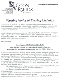 Click through this image for a larger version of the actual warning issued to violators of Coon Rapids' parking ordinance, posted on owner-operator Jason Haggard's site and including the ordinance's language.