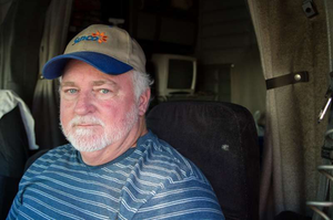 Owner-operator Bruce Johnston (photo by Matt Huesmann), leased to SunCo Carriers with his 1997 Peterbilt 379, still hauls mostly short, though the recession beginning in 2008 cut into profitability.