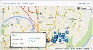 This ride mapped by a user on MapMyRide.com in Nashville, Tenn., shows a 26-mile loop route convenient to both the Love's at I-65 and Trinity Lane as well as the TA downtown. Find more about it here.