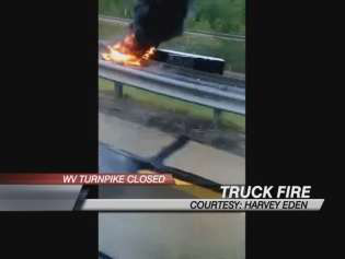 West Virginia truck crash and fire