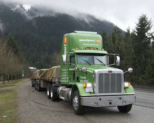"Westport calls this 2012 Peterbilt 367 ""Kermit."" The truck's equipped with a Westport 15-liter engine, a 475-horsepower high-pressure direct-injection natural gas engine."