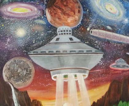 Art adorning the wall of the alien-visitation themed Little AleInn cafe.