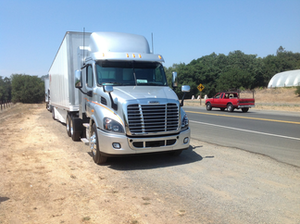The natural gas-powered Freightliner Cascadia — pictured here in the day cab model — will be available next year with a 48-inch sleeper.