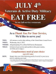 This isn't by any means the first year TA Petro's had the July 4 free-meal-for-vets/military program in force -- this is last year's poster.