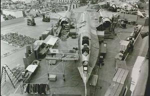 The A-12 Blackbird under construction at Lockheed in Burbank, Calif.