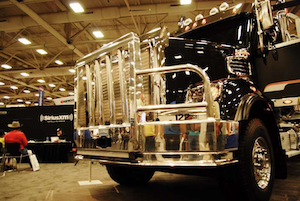 Freightliner 122SD wrecker on display at GATS, next to Sirius XM Road Dog's live broadcast station.