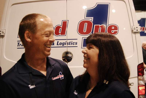 "Load One-leased owner-operators Tom and Tina Evans choose to have Tom driving days, Tina running nights. Tom says it's consideration of loading/unloading and fueling situations, which Tina tends not to like and which are mostly daytime affairs, that dictate such a schedule. ""A lot of people run their 10 or 11 hours and change their drivers,"" alternating shifts even after time off, with the last driver who was in the bunk taking over driving duties at the start of the next haul, says Tom. ""We switch at midnight, no matter what, and we run 10-hour shifts. Keeping it on a schedule like that, we can run coast-to-coast, and it only changes our schedule by four hours."" By the end of the run, Tina will be starting her driving shift at 8 p.m."