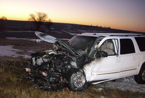 Bisaillon was pulled from this vehicle shortly before flames reached the passenger compartment.