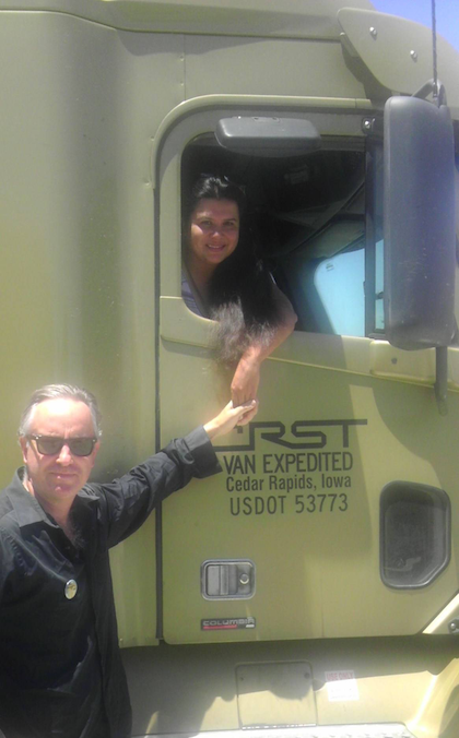 "Team drivers Martin and Carolina Hill operate this Freightliner Columbia in a lease-purchase arrangement with CRST Van Expedited. Martin also has made news with a federal civil-rights lawsuit against the Texas Department of Public Safety alleging trooper violations of 4th Amendment protections when waking sleeping co-drivers for nothing more than an ID check. For Hill's letter to Overdrive and more about the case, scan the QR with your smartphone or tablet, or search ""Don't Wake Me Up"" at OverdriveOnline.com."