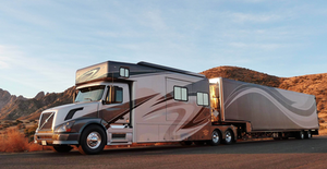 Some freight hauler: This rig, a 2012 Volvo VNL300 that came out of the factor as a custom-chassis daycab, was put together in 2011 by Show Hauler Motorhome Conversions — the only comparable rig I've seen is Hyler Bracey/Cass Flagg's KW conversion (done by NRC Truck Conversions in the same Indiana town as Showhauler). For more on the truck and trailer, see this post on the Channel 19 blog.