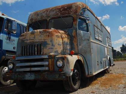 After a tour through the dealership and truck show, Price showed me this gem, a personal future project of Andy Jablonski, the Landmark VP who heads up the operations at this location -- it's a late 1950s International camper he's hoping to make a full restoration project of.