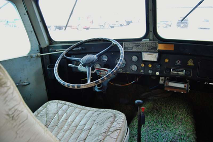 A classic view, from the driver's seat of the camper -- notice that shag carpeting? It extended all through the camper body of the vehicle, well preserved...