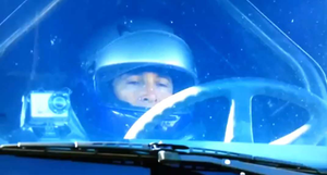 Godfrey in the cab before his 2011 jump.