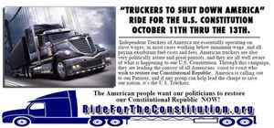 "A flyer hosted at RidefortheConstitution.org directs readers back to another site owned by online talk show host Pete Santilli -- text of the flyer begins with ""Independent Truckers of America are essentially operating on slave wages..."" Click through the image to read the text in full. For a decade, though income has been somewhat stagnant measured against inflation, average take-home for owner-operators in the United States has tracked around or above $50,000 yearly in Overdrive's surveys, and recent ATBS client data showed an overall $52/year average."