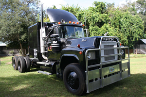 """Recognize this 1978 Mack R-767ST? It's a replica owner-operator Robert Steele put together of the Rubber Duck's 1978  RS700L used in Sam Peckinpah's """"Convoy"""" classic film. The truck, powered by an old 500 Cummins, Steele says, shows but one difference from the 1978 RS700L used in the film -- the top of the hood is not quite as tall. Steele had to modify the RS700L grille to fit the 767. Steele uses the rig only sparingly, but says it'd look great at the head of a convoy. Read his letter appealing for greater industry unity in our Voices section here."""