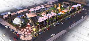 This artist's rendition shows the container park opening soon in downtown Las Vegas.
