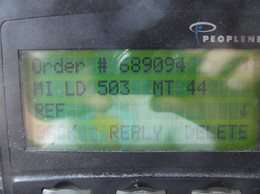dispatch miles on PeopleNet display unit