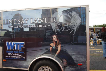 Lindsay Lawler and crew's sound equipment trailer