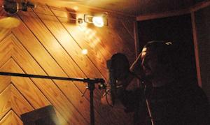 Tony Justice in Studio Q cutting vocals