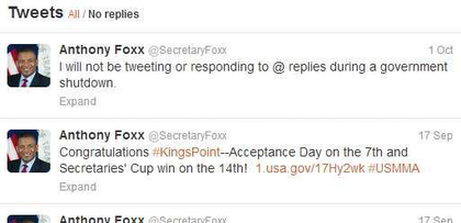 Shutdown = No twitter for Anthony Foxx