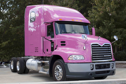 Mack displays pink truck
