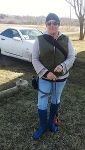 Wendy fishing for possum