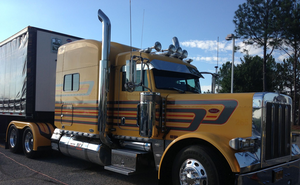 The 2007 Peterbilt 379 used by Lawler and her crew to transport their concert equipment. The truck and trailer double as a stage for Lawler and her band at their nationwide tour stops.